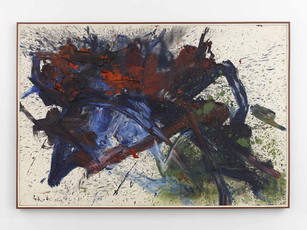Kazuo Shiraga, Chikisei Sesuisho, 1960. Oil on canvas 51 1/4 x 76 inches (130 x 193 cm) © Kazuo Shiraga, Courtesy Hisao Shiraga
