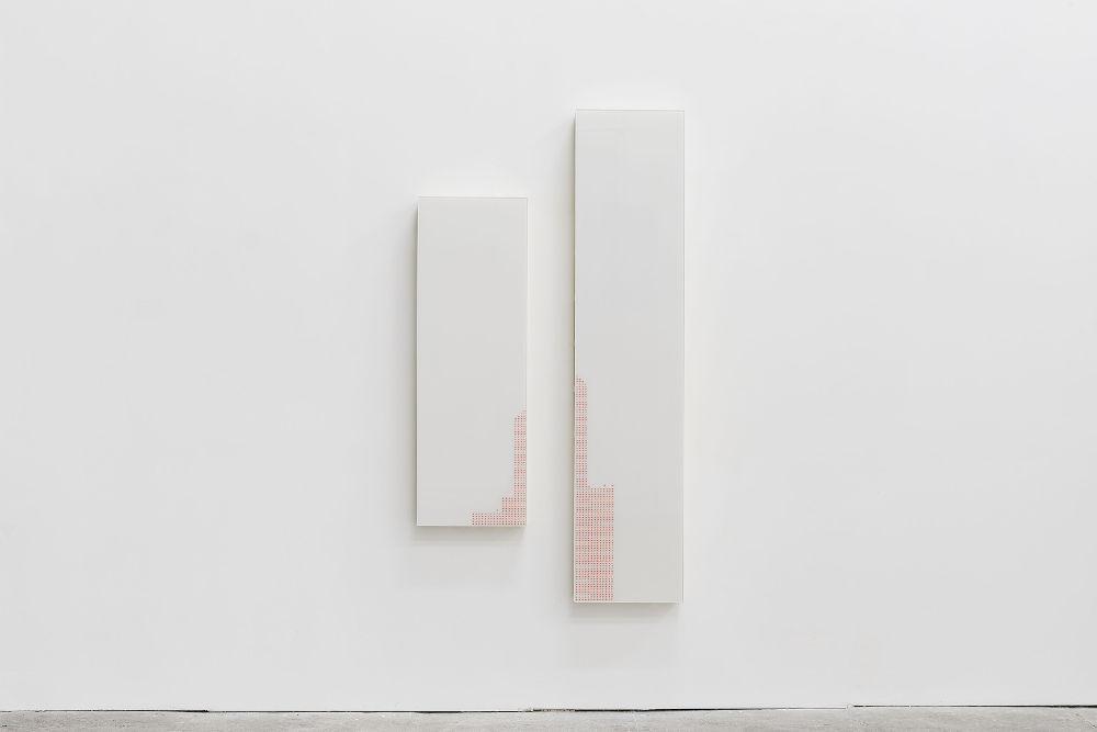 James Beckett, Natalya 2, 2017. Wood, UV printed glass / legno, stampa UV su vetro 180 x 100 x 11 cm (70 ⅞
