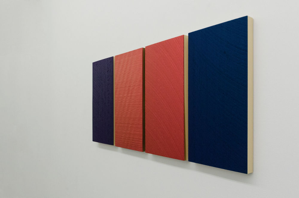Winston Roeth, Quartet #2, 2014. Tempera on poplar wood panels, 58.5 x 119.4 cm