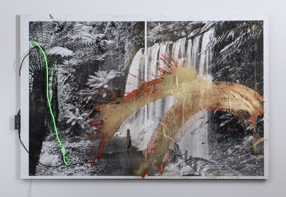 Brook Andrew, Untitled (Waterfall), 2017. Paper, acrylic polymer paint, metallic pigment powder, neon and glue on dibond 160 x 240 cm