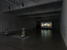 From GalleriesNow.net - Liam Gillick: Extended Soundtrack For A Lost Production Line: Ton und Film @Galerie Eva Presenhuber, Maag Areal, Zürich