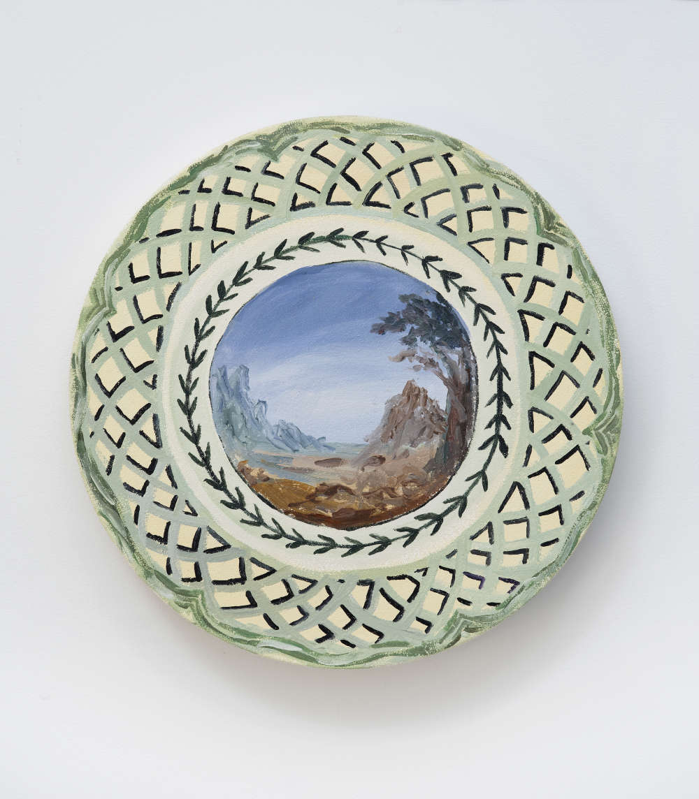 Karen Kilimnik, Villeroy & Boch 1748. View of Italy, 1547 from Fleurance porcelaine plate 2013, 2013. Water soluble oil color on canvas Water soluble oil color on canvas ø 25.5 cm / ø 10 inches