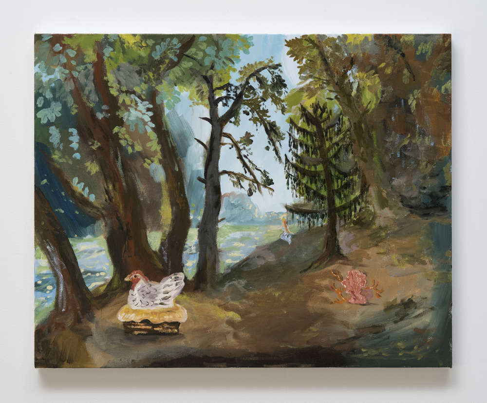 Karen Kilimnik, the hen of the woods on the mermaid isle, il galli, 2017. Water soluble oil color on canvas 40.5 x 51 cm / 16 x 20 inches