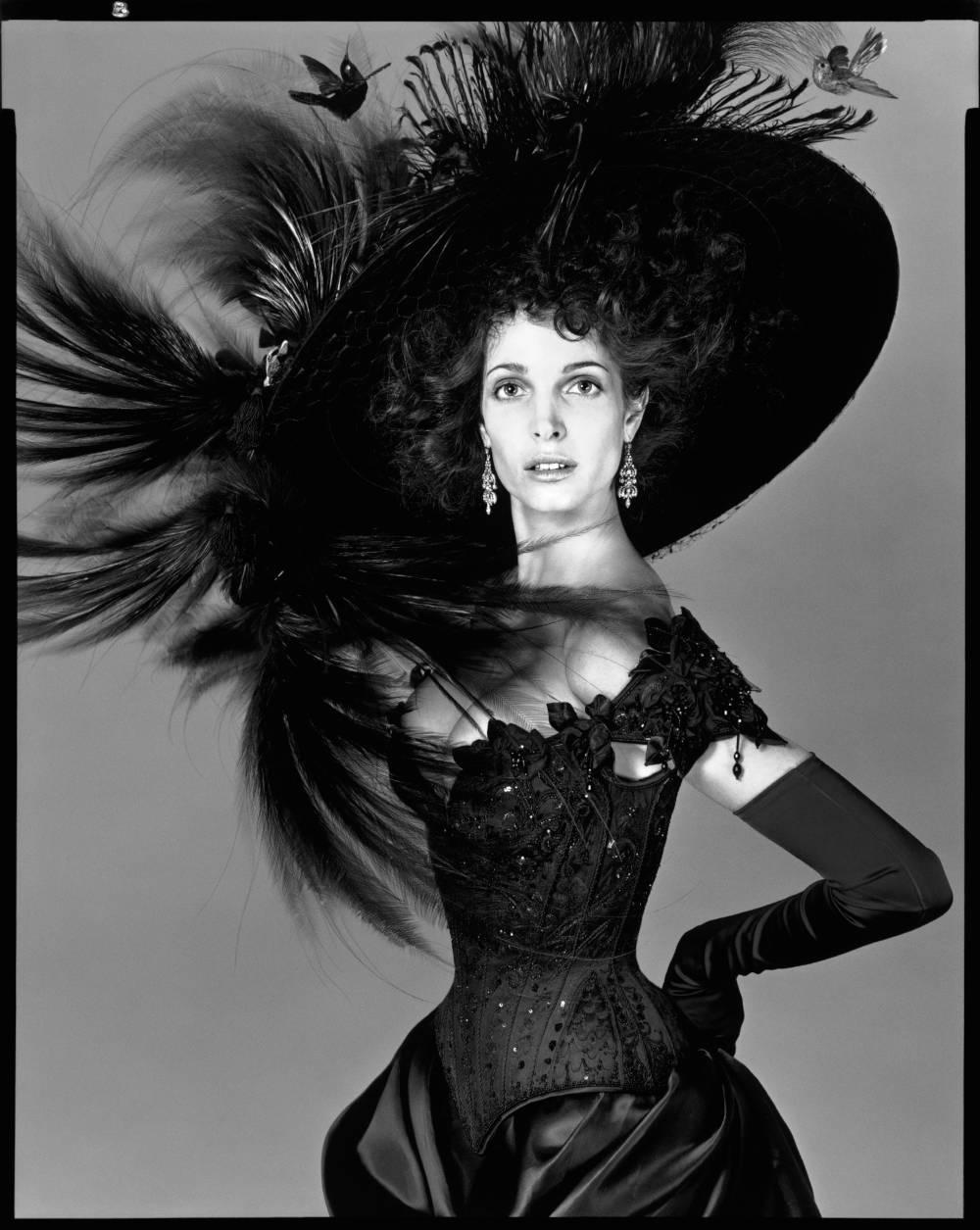 Stephanie Seymour, bustier by Pearl, hat by Philip Treacy, New York