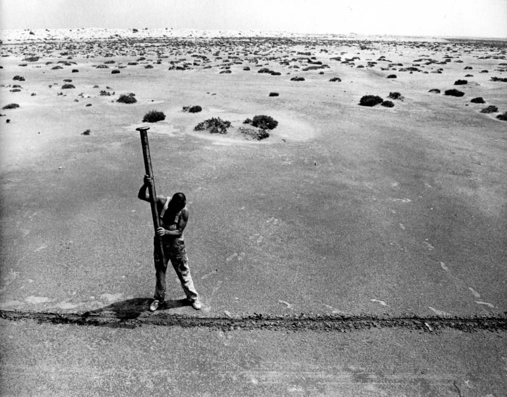 Action Libyan Desert, 1977. Where Two Lines Meet is a Point, That's Where I Drive My Nail In.