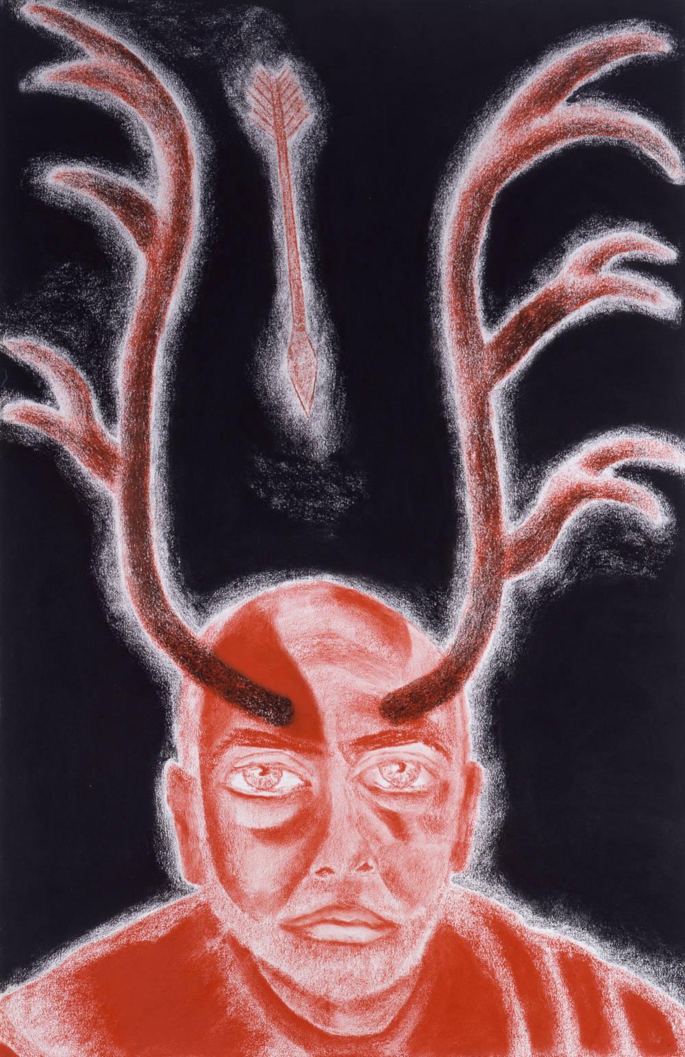 Self-Portrait in White, Red and Black IX