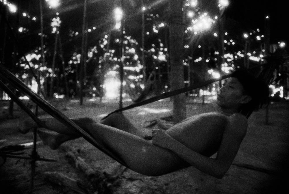 Youth in a barkcloth hammock, Catrimani, Roraima