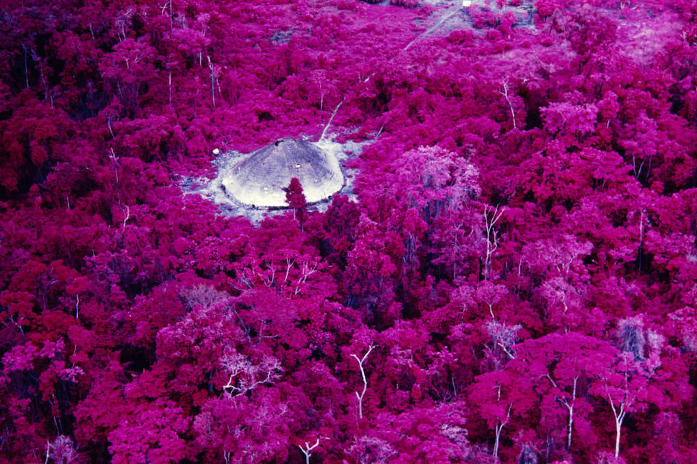 Collective house near the Catholic mission on the Catrimani River, Roraima, infrared film
