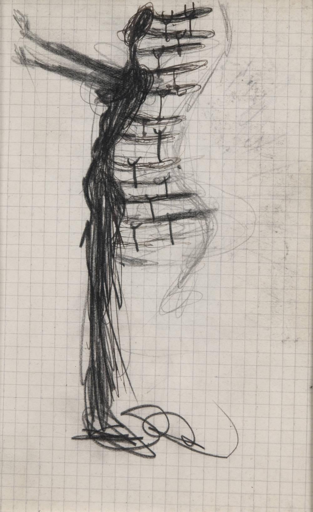 Femme à béquilles aux bras tendus