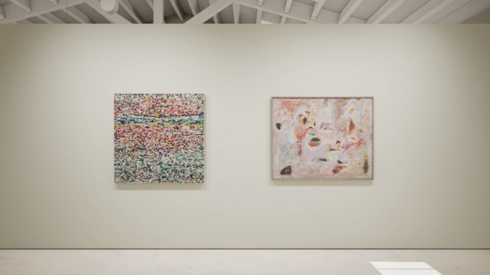 Installation view created in HWVR, 'Arshile Gorky & Jack Whitten', picturing Whitten's 'Quantum Wall, VIII (For Arshile Gorky, My First Love In Painting)', 2017 and Gorky's 'Untitled', c. 1947–1948. © (2019) The Arshile Gorky Foundation / Artists Rights Society (ARS) / © Jack Whitten Estate. Courtesy the estates and Hauser & Wirth