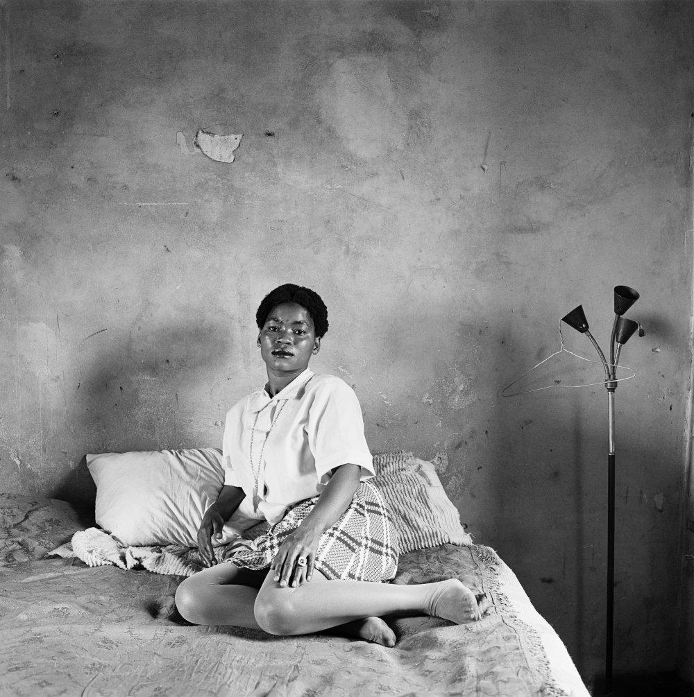 Miriam Diale in her bedroom, 5357 Orlando East, Soweto, October 1972