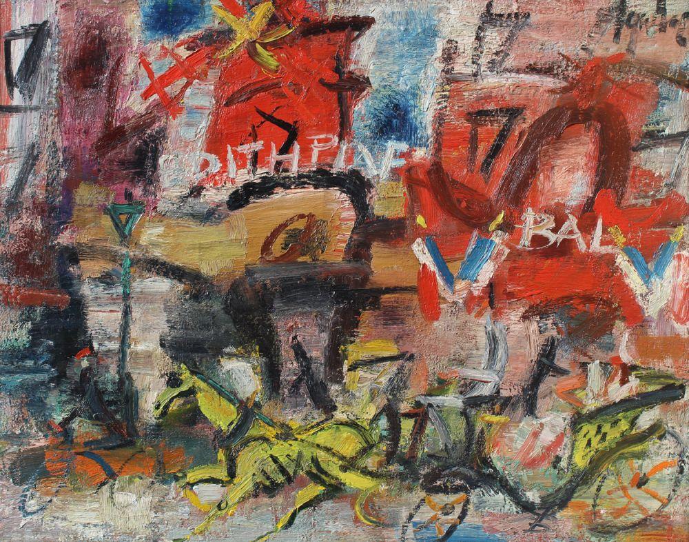 Calèche devant le Moulin Rouge, Edith Piaf