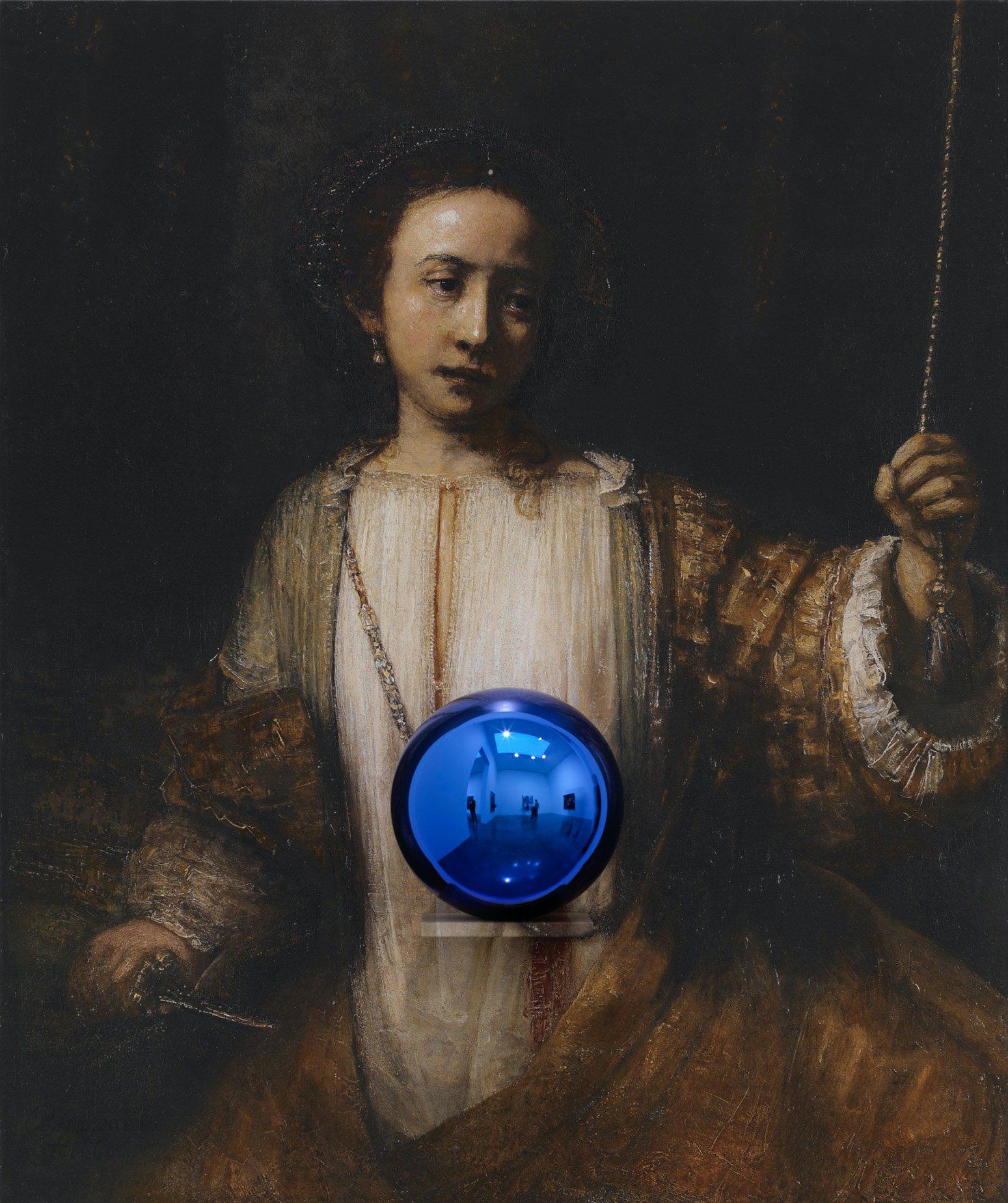 Gazing Ball (Rembrandt Lucretia)