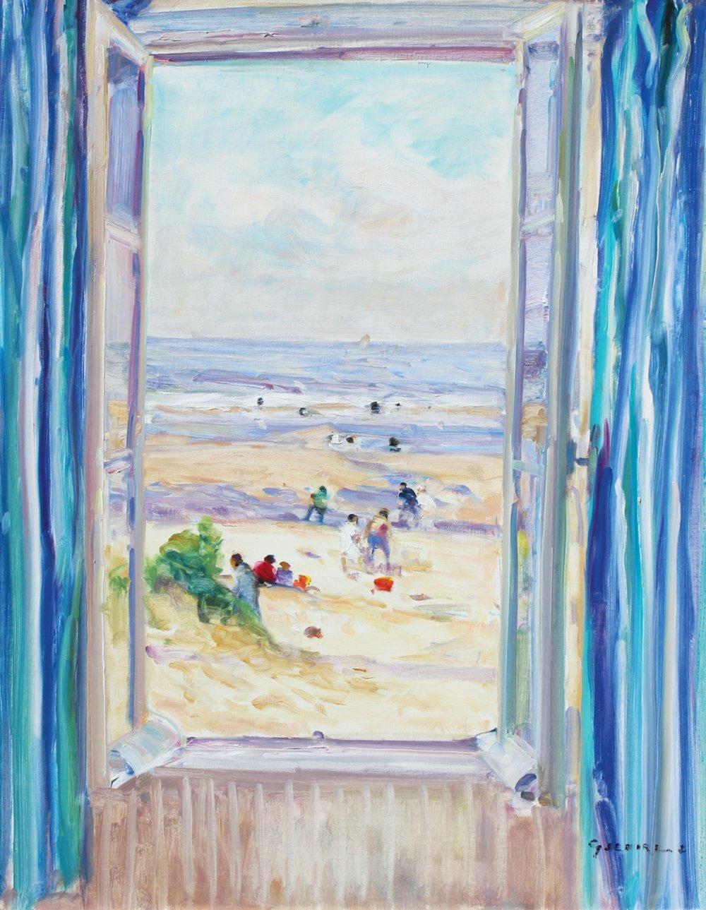 Fenêtre aux rideaux bleus