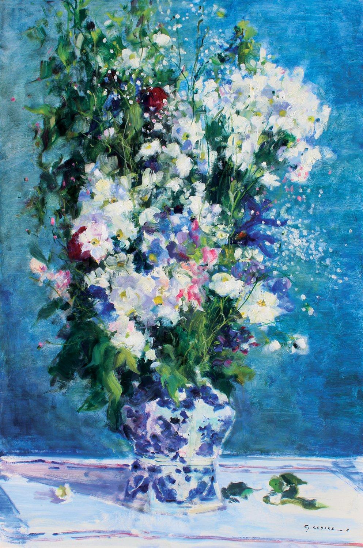 Le bouquet au fond bleu et paquerettes