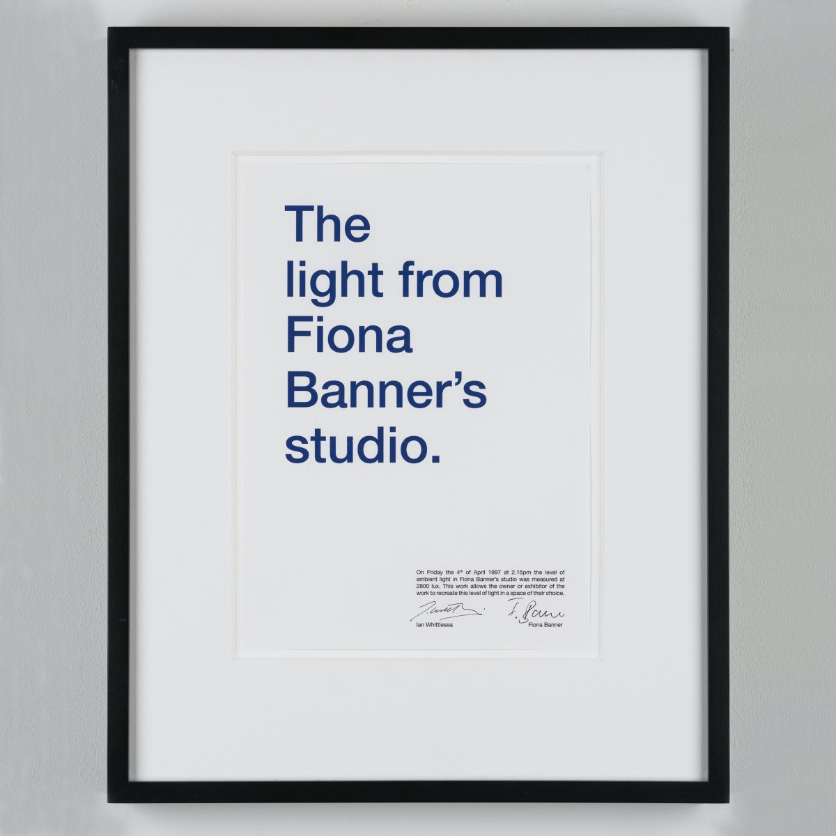The Light from Fiona Banner`s studio