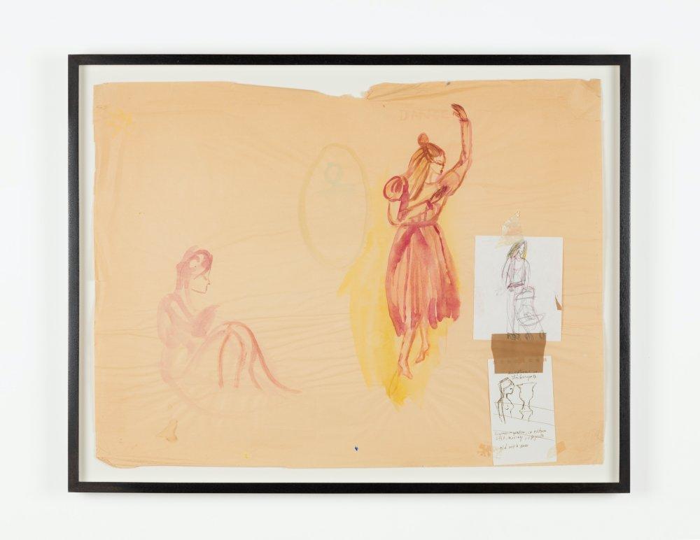 Two Maroon Women Watercolor on Brown Paper