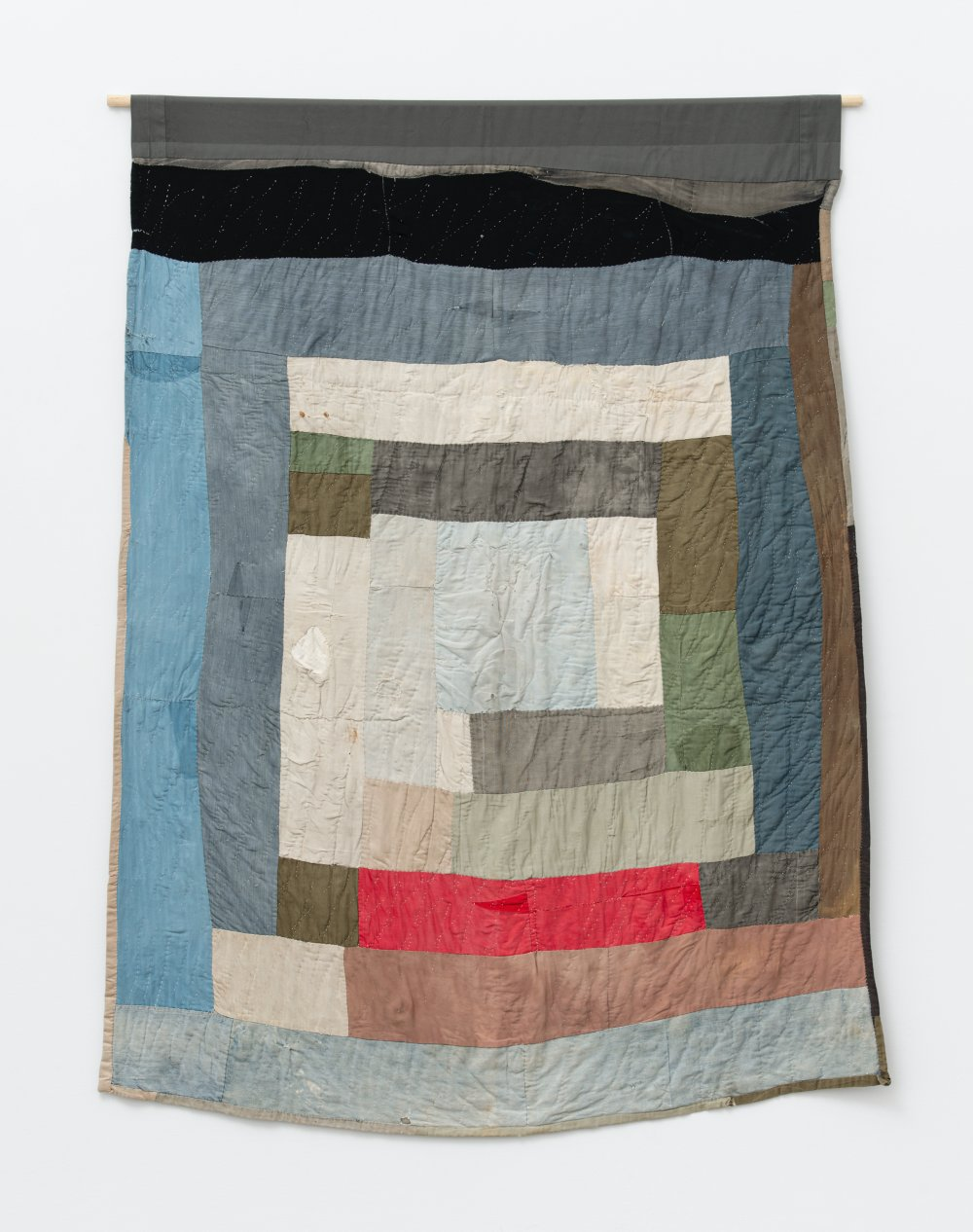 Two-sided work-clothes quilt: Bars and blocks