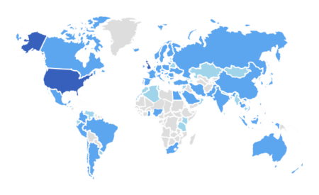 map of the GalleriesNow worldwide audience