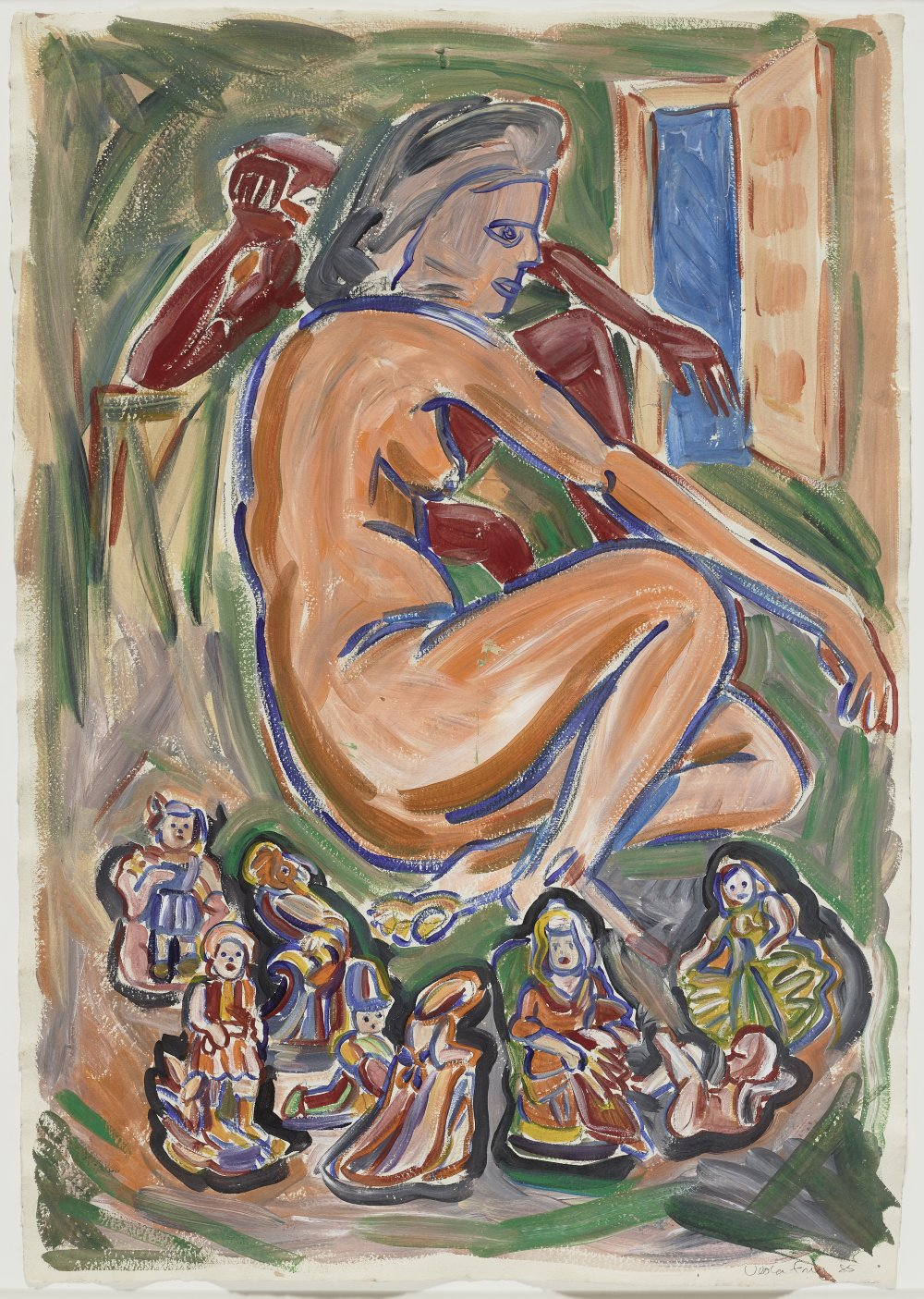 Untitled (Seated Nude and Figurines)