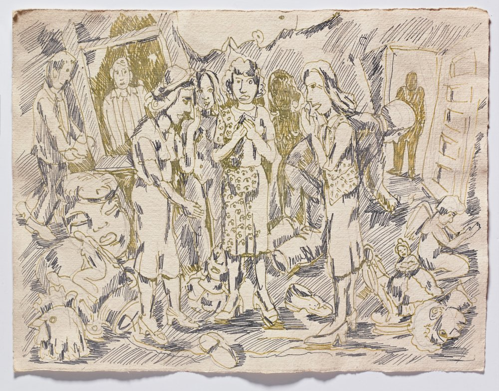 Untitled (Sketch with Three Grandmother Figures)