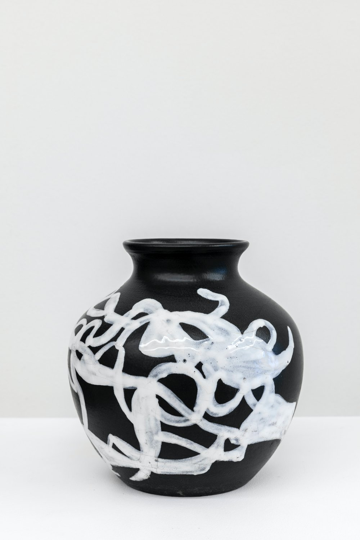 Vaso Bianco nero ceramica Deruta