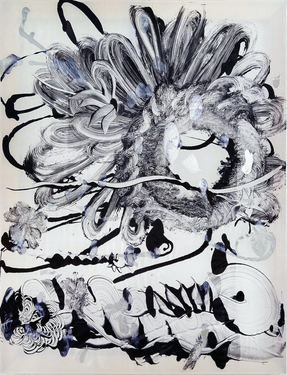 Silk Monotype - Black Garden No. 6