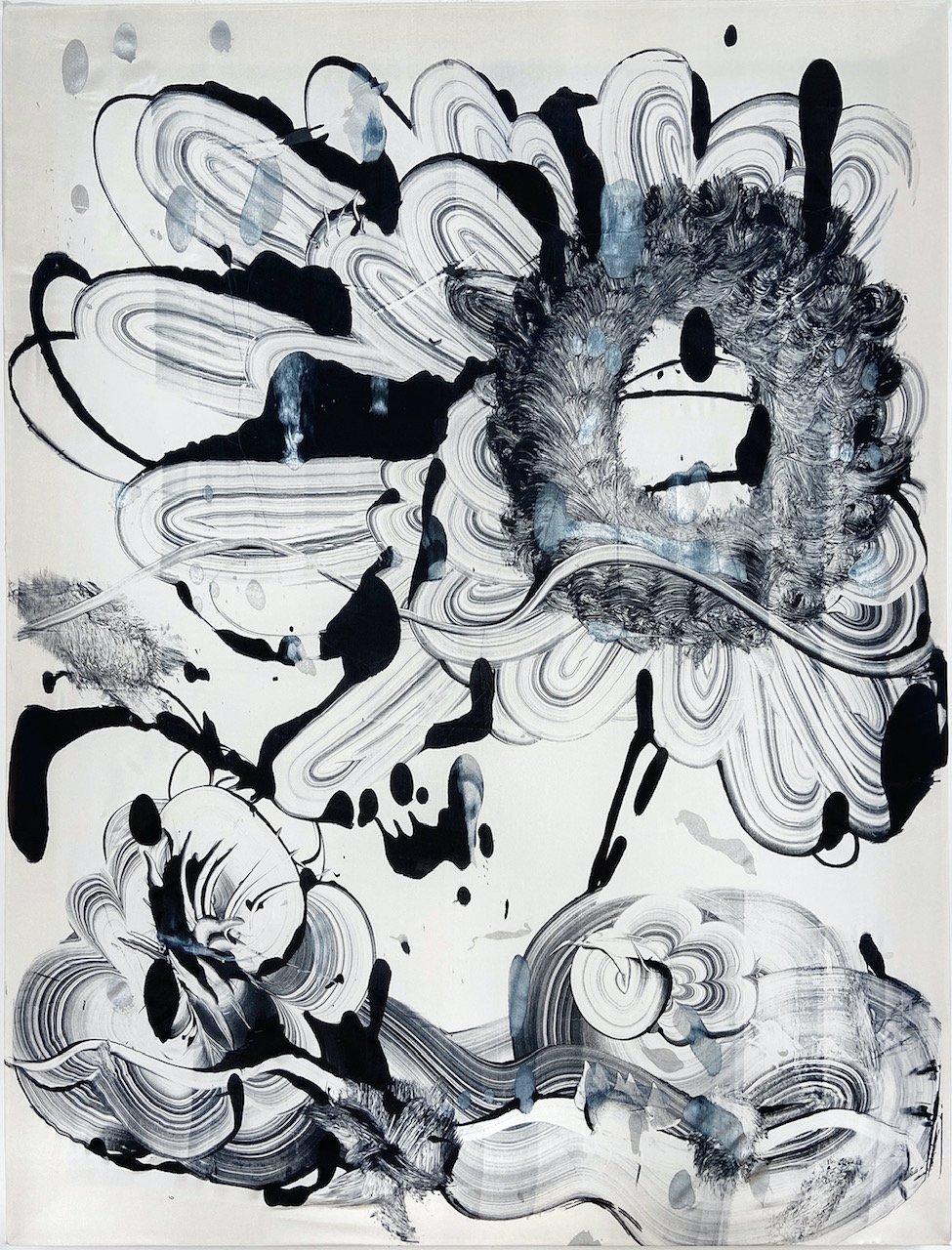 Silk Monotype - Black Garden No. 7