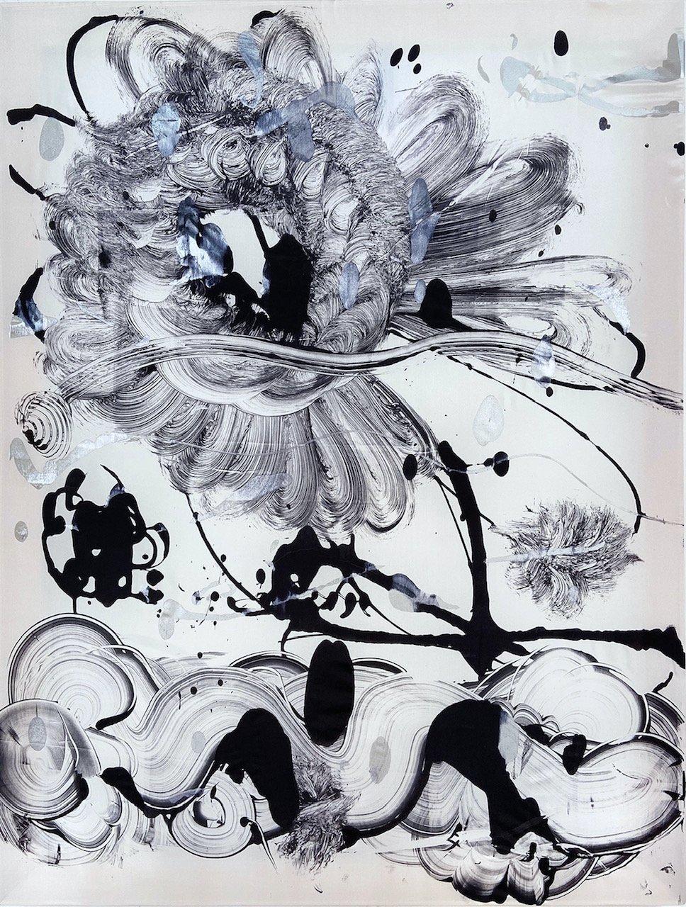 Silk Monotype - Black Garden No. 8