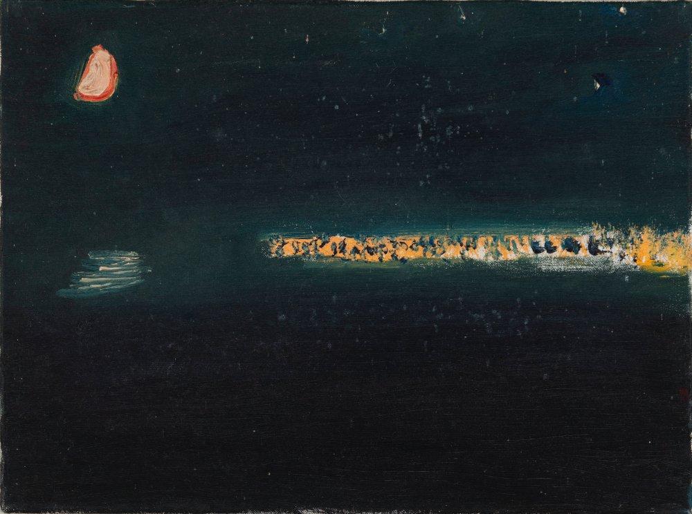 Newlyn Lights with Half Moon