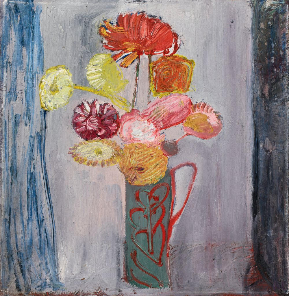 Dahlias (Green Jug with Red)