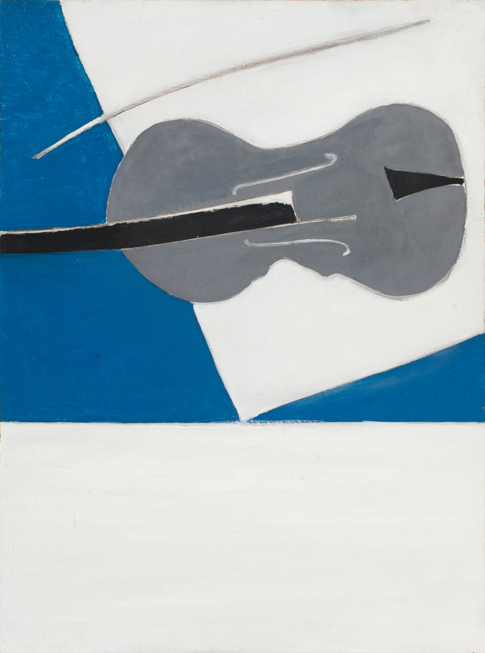 Grey Fiddle with Blue and White