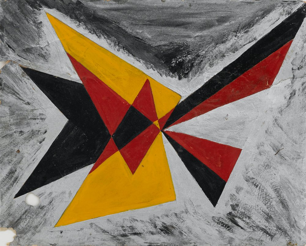 Untitled (Abstract Triangles Red, Yellow, Black and Silver)