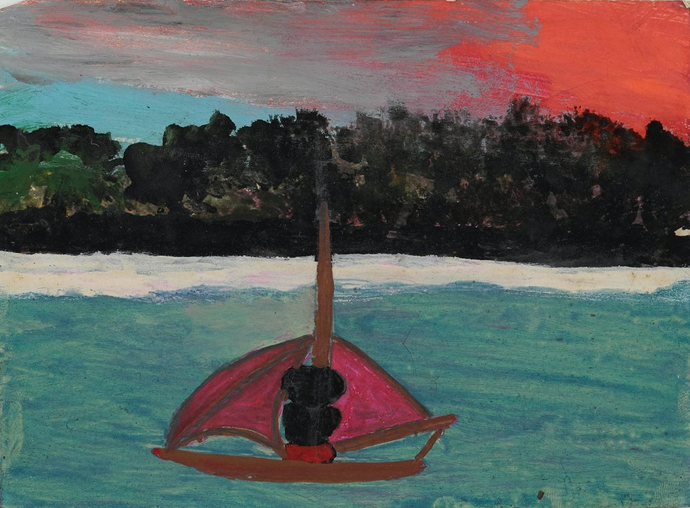 Untitled (Self-portrait on water with red hurrican sky moving in)