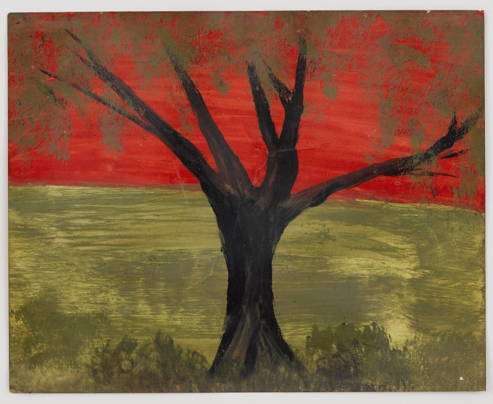 Untitled (Red sky with single black trunk tree and golden foliage)