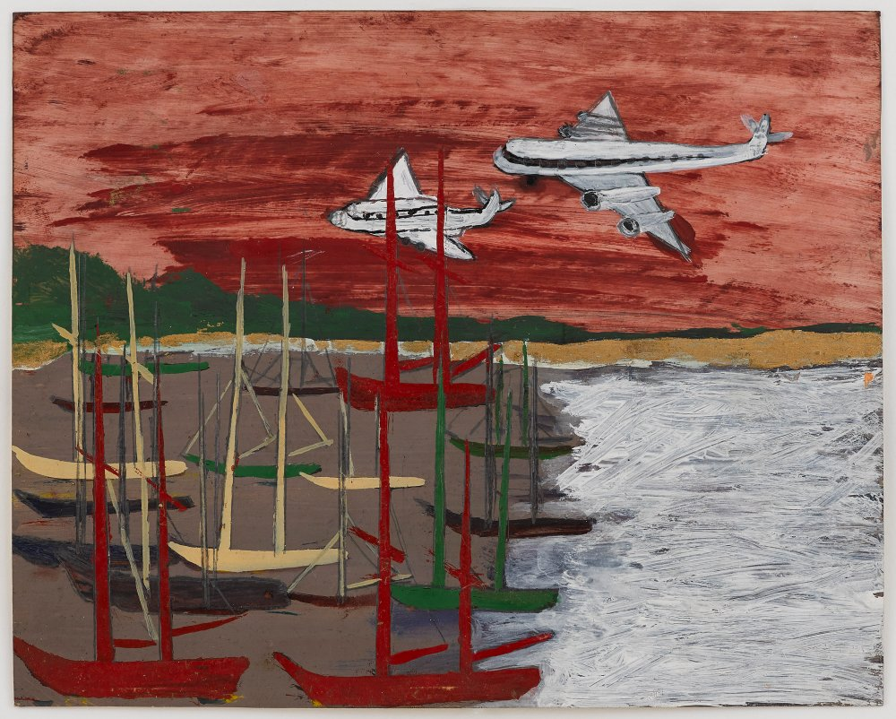 Untitled (Airplanes over boats in harbor)