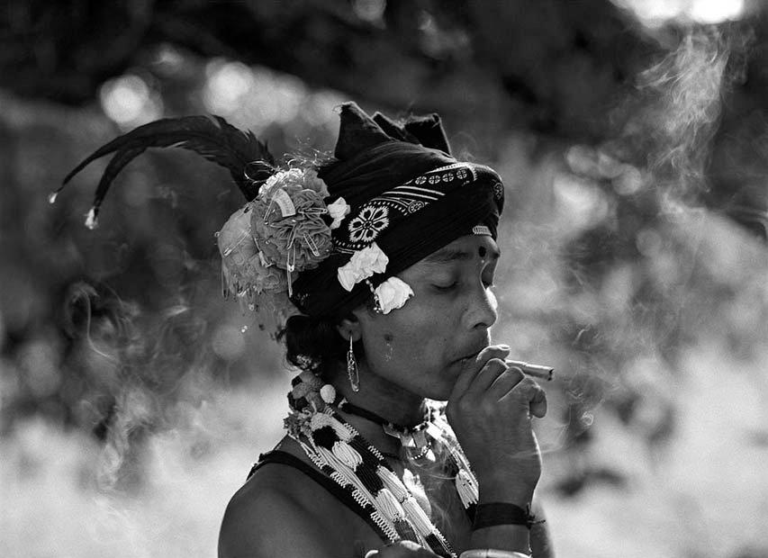 Maria boy smoking on the way to Chote Donger, Bastar, India