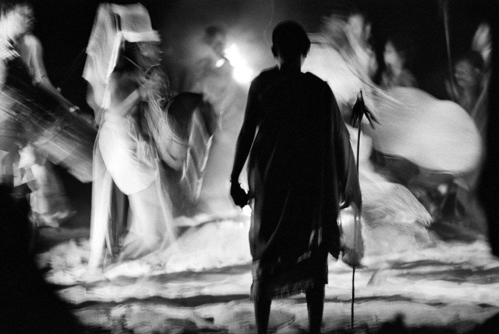 Dance performed around fire near Chitrakot falls, Bastar, India