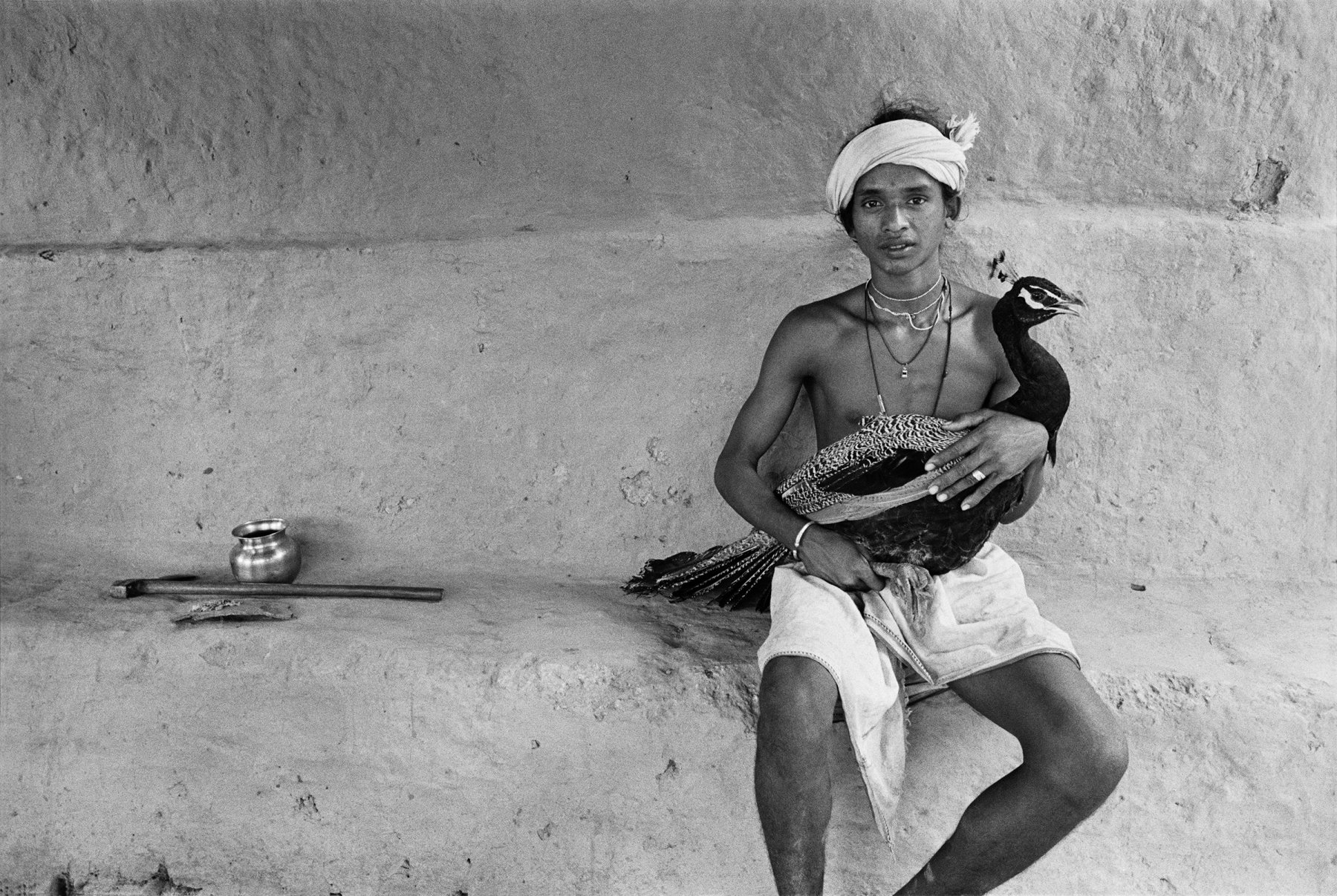 Boy with Peacock, Village Pulcha, Bastar, India