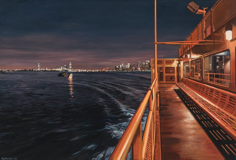 Staten Island Ferry Arriving with a Distant View of Manhattan and New Jersey