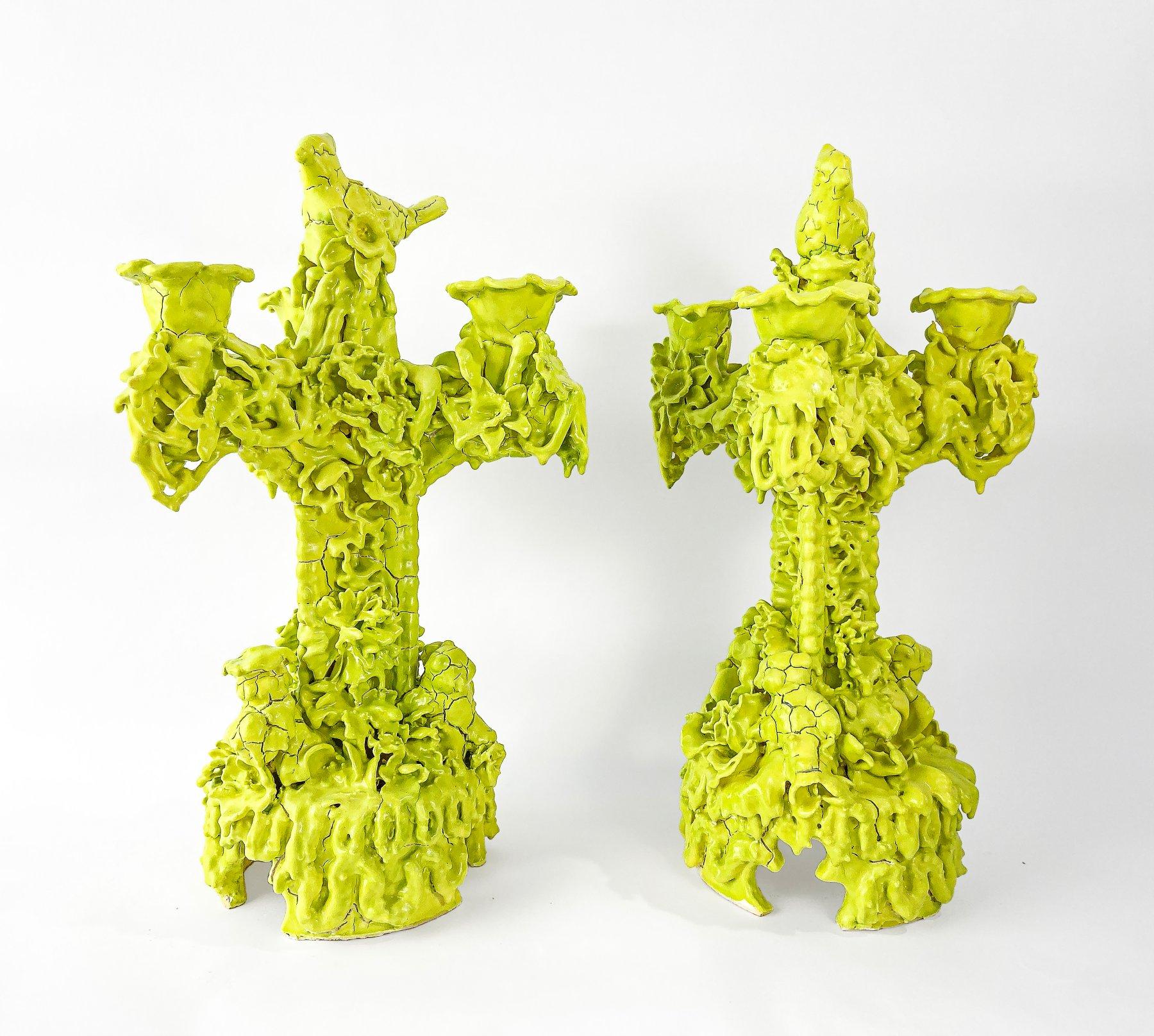 Pair of Tri-Prong Candelabras (Acid Green)