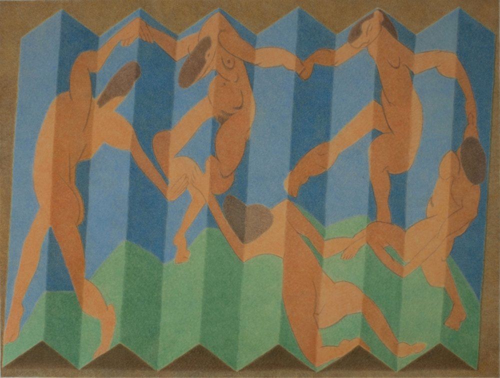 A postcard of Matisse's 'The Dance', folded and on a table