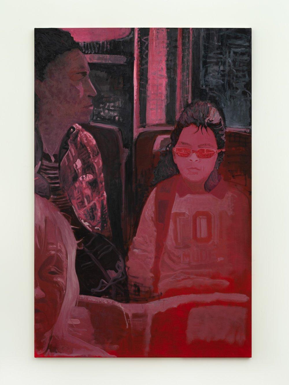 Niña y señora en colectivo (rojo)