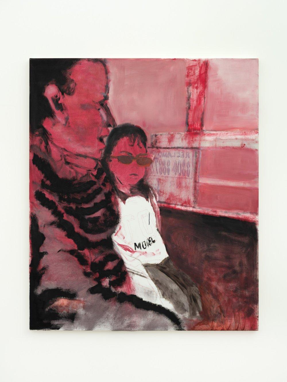 Niña y señora en colectivo (rosa)