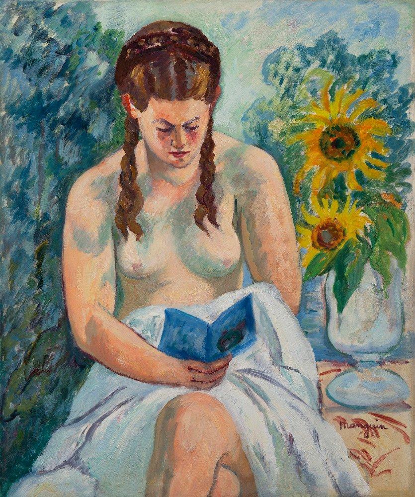 Geneviève Sauty nue lisant