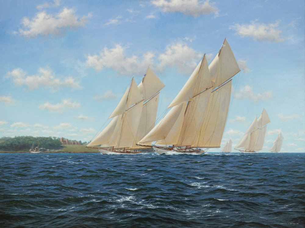 Westward slightly leading Cicely off Norris Castle in the Solent. Meteor IV is trailing behind, 1910