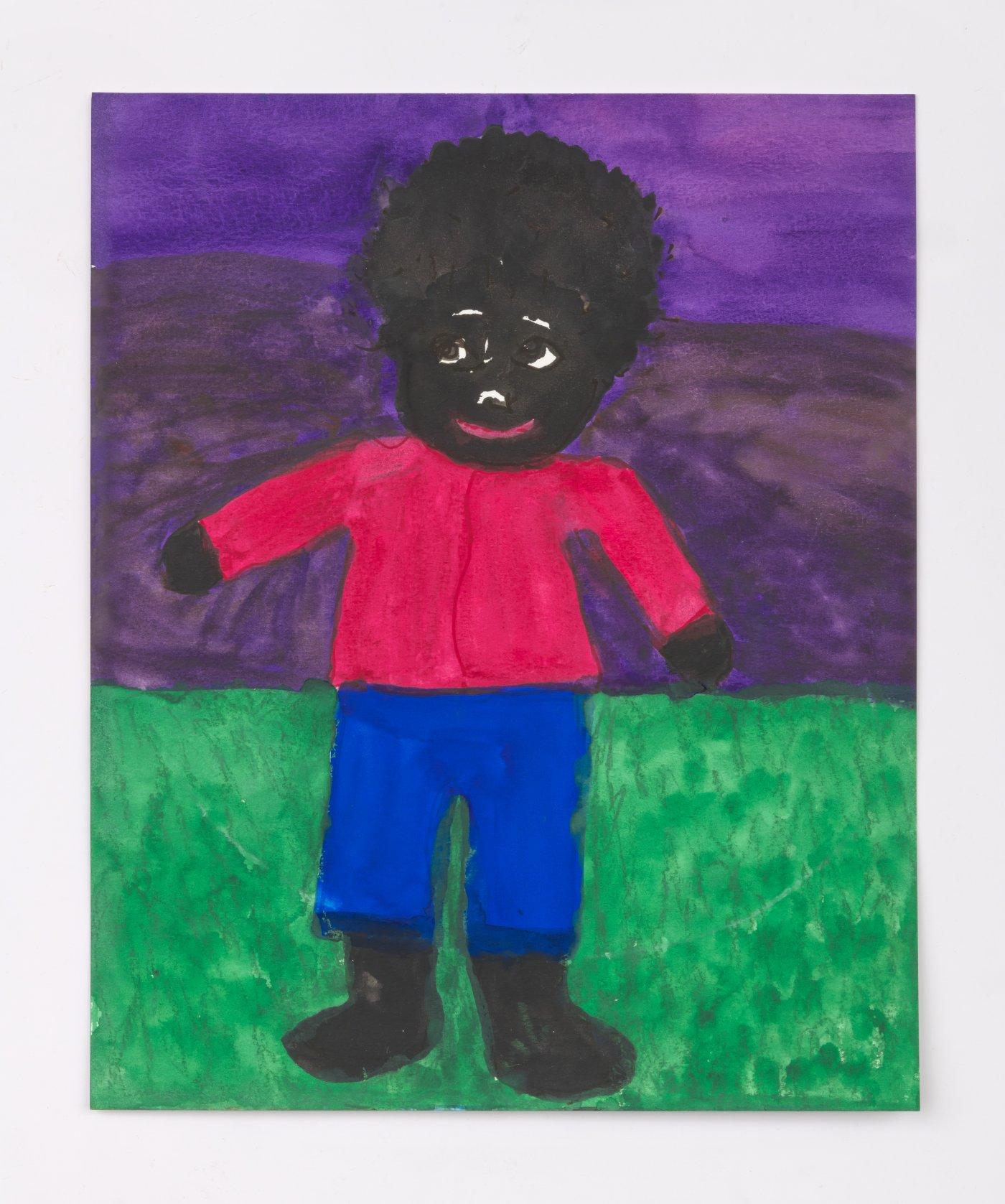 Boy on Green Grass with Purple Sky