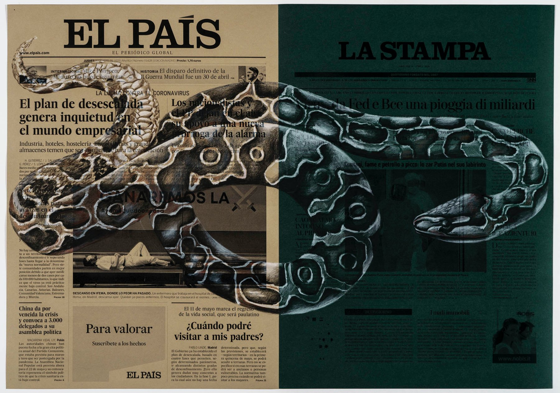 ''April 30th, El País, Spain; La Stampa, Italy,'' from the series ''From March to May''