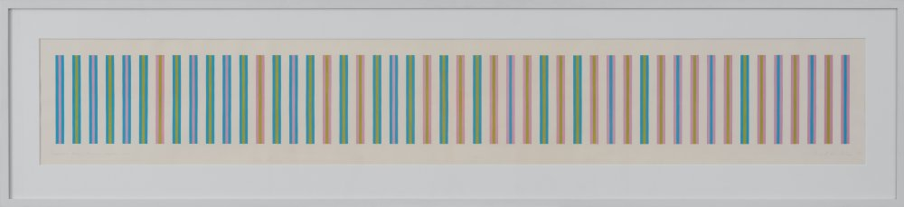 Sequence study 2, turquoise, ochre, magenta