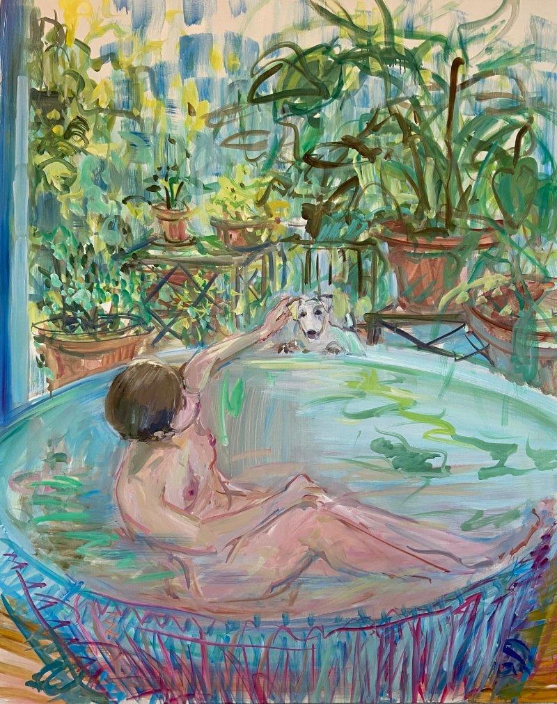 Bathtub Self-Portrait with Zeus V